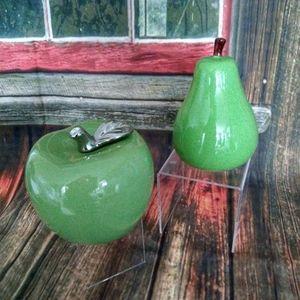 Set of 2 Ceramic Fruit Decor